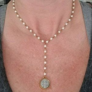 Jewelry - Handcrafted pearl St Benidict coin necklace